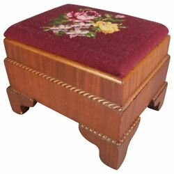 Antique American Empire Carved Mahogany And Needlepoint Footstool 20th Century