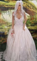 Ivory & Champagne Ivory Beaded Lace Satin Backless Scalloped Wedding Ballgown