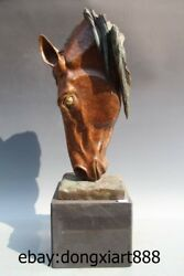 31 West Art Deco Bronze Marble Steed Horse Equine Sitting Room Bust Sculpture