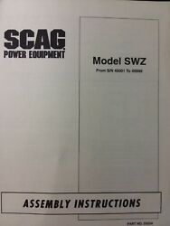 Scag Swz Hydrostatic Walk-behind Lawn Mower Tractor Assembly Manual 40001-49999