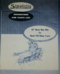 Allis Chalmers B1 B-10 Simplicity 700 725 Tractor 32 Tiller Owner And Parts Manual