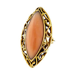Vintage 1950 Large Marquise Natural Angel Skin Coral 14k Yellow Gold Ring