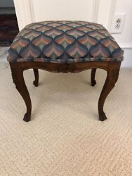 Antique Vintage French Walnut And Upholstery Hand Carved Footstool Furniture