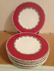 8 Fitz And Floyd Yuletide Holiday Dinner Plates Red And 2 Large Serving Platters