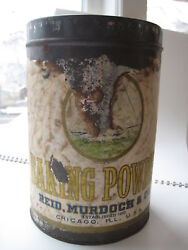 Vtg Reid Murdoch And Co Baking Powder Tin Can Chicago Il Sailboat Antique Canco