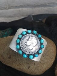 Orville Tsinnie Vintage Sleeping Beauty Turquoise And Sterling Liberty Coin Cuff