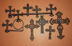 9 Vintage Style Christian Bathroom Decor Accessories, Rustic Brown Cast Iron