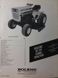 Bolens Fmc Husky Ht-20 Lawn Garden Tractor Owners Manual 2086 Large Frame 19.9hp