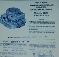 Briggs Stratton 3 Hp 3.5 Hp 92505-92598 And 92905 Engine Owner And Parts 2 Manual S