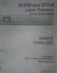 John Deere Stx-38 Stx 30 Lawn Tractor And Yellow Deck Parts Manual Catalog Pc-2232