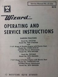 Wizard Western Auto Mtd 3760a86 And 3862a86 Garden Tractor Owner And Parts Manual