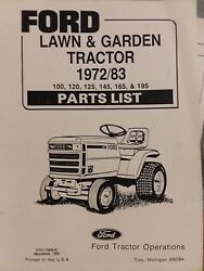 Ford Lgt 100 120 125 145 165 195 Lawn Garden Tractor Parts Manual 1972-1983 Rare