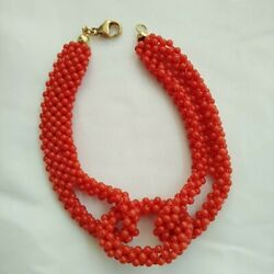 Natural Red Coral Bracelet 2.5 mm  and gold