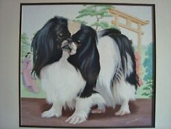 Japanese Chin Dog Orig. Orientalist Watercolor Painting Signed Walter L. Brown