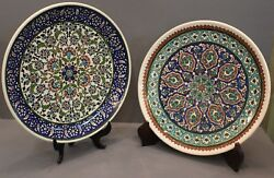 Two Turkish 12 Pottery Platters With Mosaic Style Design. One Signed Azim Gini.