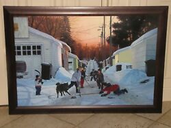 Terrence Fogarty Original Oil Painting Canvas 28x42 Signed Kids Ice Hockey Wow