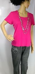 Designer Originals womens top pink attached chunky statement necklace women PM