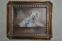 THE BOMBAY COMPANY Silky Terrier Dog Portrait Gold Leaf Frame 16