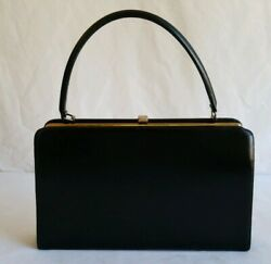 Vintage 50and039s 60and039s Theodor California Black Leather Goldtone Clasp Hand Bag Purse