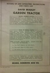 Sears David Bradley Walk Lawn Garden Tractor Owner Parts And Service 6 Manual S