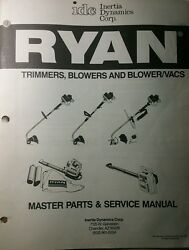 Ryan Idc Trimmer, Blower And Vac Master Parts And Service Shop Manual Major Overhaul