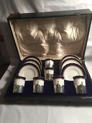Antique Cased 6 Prices Silver Tea Cup Holders Hallmarked 1913 C D London Ga