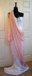 Blush Pink And White Corded Lace Sweetheart Corset Saree Sari Wedding Bridal Gown