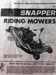 Snapper Ser 6 Rear Engine Riding Lawn Mower Tractor Owner And Parts 2 Manual S