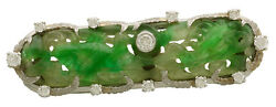 Deco 14K Gold Chinese Carved Green Jade Brooch with Diamond (.85 Cts.) CA1915