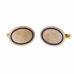 And Co Vintage 1925 Blue Enamel Oval Cuff Links 14k Gold
