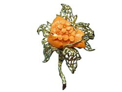 Vintage Handmade Natural Angel Skin Coral And 14k Yellow Gold Flower Pin