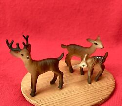 Vintage Celluloid Plastic Bambi Buck Doe And Fawn Deer Figurines - Set Of 3
