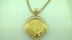 Luxury Centenario Coin With Eagle Bezel  And 24 Cuban White Pave Necklace