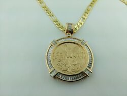 Centenario Coin With Baggette Stones Bezel With 24 Necklace Chain Luxury