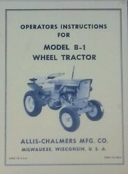 Allis Chalmers B-1 Garden Tractor And Implements Owner And Parts 6 Manuals 82pg