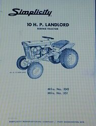 Simplicity Landlord Tractor, Plow And Snow Thrower Owner And Parts 3 Manuals 42pg