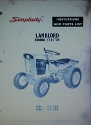 Simplicity Landlord Tractor, Plow And Snow Thrower Owner And Parts 3 Manuals 1963