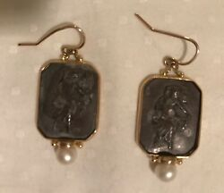 Vintage 14 Kt Sterling And Pearl Hook Earrings Signed By Maz