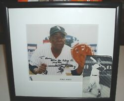 Minnie Minoso Signed Photo Framed And Picture Clipping Signed Rare Opportunity