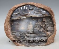 9 Chinese Natural Agate Handwork Sailing Boat Mountains Waters Fengshui Statue