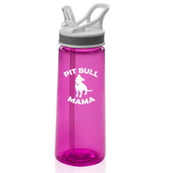 22 Oz Sports Water Bottle With Straw Pit Bull Mama