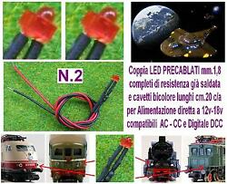 N.2 Led Micro 12v And 18v Mm.1, 8 Red For Lights Dc Locomotives And Dcc Scale N Ho