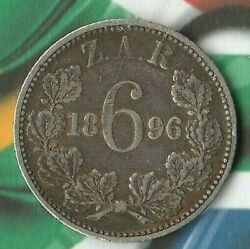 1896 South African 6 Pence- 92.5 Silver- 205000 Minted- Nice 6 Pence