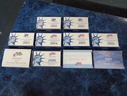 2001-2010 United States Mint Proof Sets W/ Boxes And Coas Andndash Nice