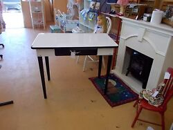 'vintage' Table/desk, White Metal With Black Trim, With Pull-out Drawer,