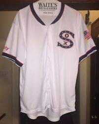 Mlb Chicago White Sox Old School White Jersey Sz Adult Xl American Flag 🇺🇸