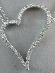 Modern Pave Diamond 14kt Gold Open Hanging Heart Necklace Double Chain N16916wp1