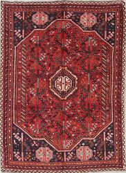 One-of-a-kind Geometric Tribal Abadeh Oriental Hand-knotted Wool 7and039x9and039 Area Rug