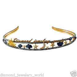 Vintage 8.88cts Rose Cut Diamond Gemstone Studded Silver Crown Hair Band Jewelry