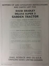 Sears David Bradley Tractor And Disc And Engine Service, Owner And Parts 3 Manual S